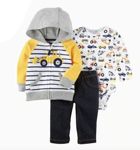 Grey & Yellow Tractor Hooded Tracksuit Top & Pants - 3pc - Dee Republic