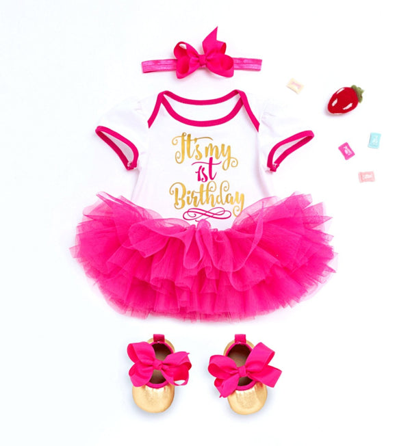 It's My 1st Birthday Bodysuit & Tulle Tutu Set - 4pc - Dee Republic