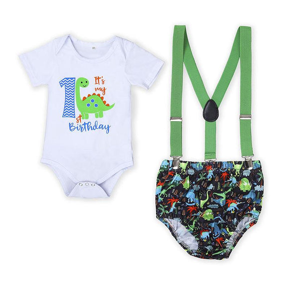 It's My 1st Birthday Green & Blue Dinosaur Outfit - 3pc - Dee Republic