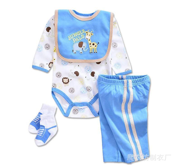 Jungle Pals Blue/White Outfit - 4 Piece Set - Dee Republic