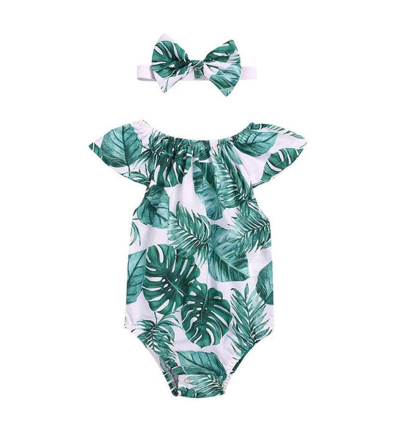Latest Green Leaf Design Flutter Sleeve Bodysuit Set with Headband - Dee Republic