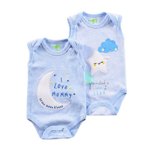 Light Blue Moon & Stars Sleevless Onsie - 2 Piece Set - Dee Republic