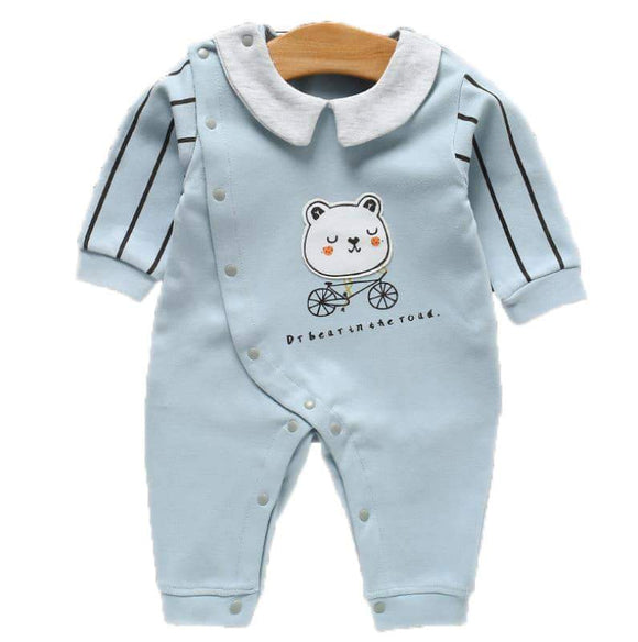 Light Blue Teddy on Bike Jumpsuit - Dee Republic