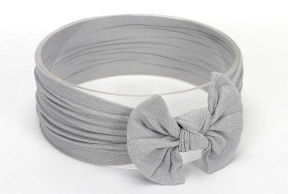 Light Grey Broad Soft Elasticized Baby Headband with Bow - Dee Republic