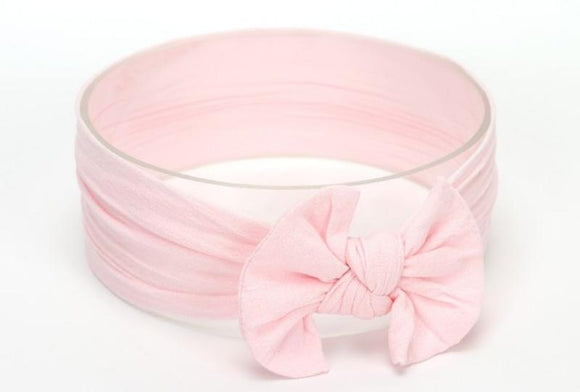 Light Pink Broad Soft Elasticized Baby Headband with Bow - Dee Republic