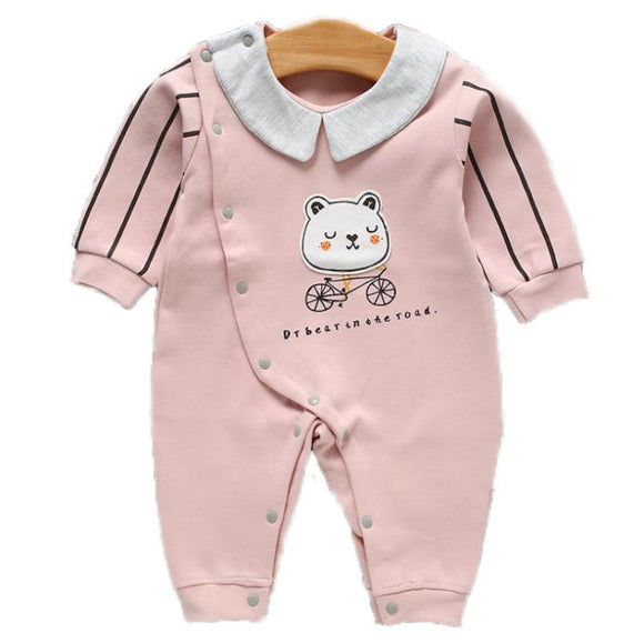 Light Pink Teddy on Bike Jumpsuit - Dee Republic
