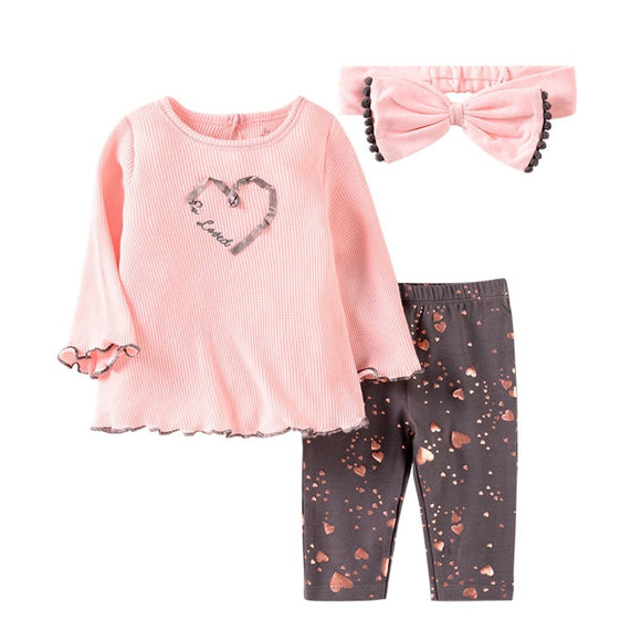 Light Pink Waffle Knit Flare Top with Heart Leggings & Headband - 3pc - Dee Republic
