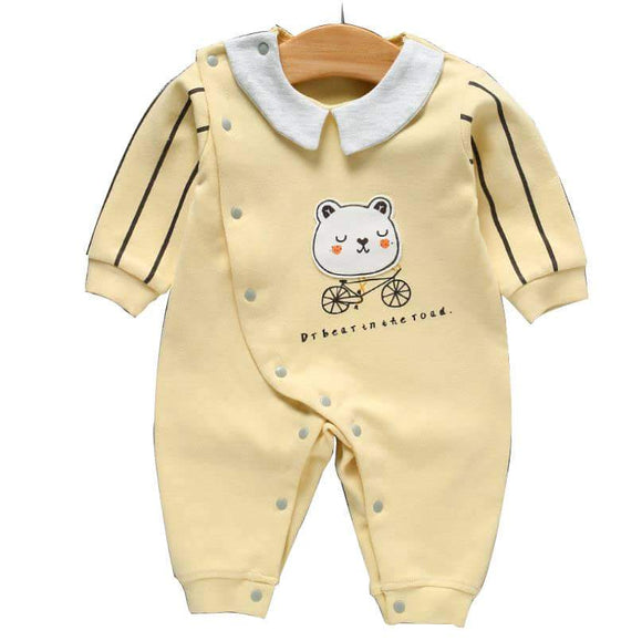 Light Yellow Teddy on Bike Jumpsuit - Dee Republic