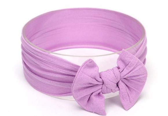Lilac Broad Soft Elasticized Baby Headband with Bow - Dee Republic