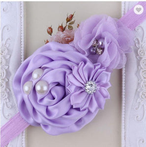 Lilac Handmade Flower Mix Soft Headband with Crystal & Pearls - Dee Republic