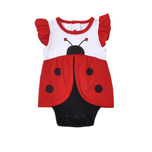 Little Black & Red Lady Bug Bodysuit with Flutter Sleeve - Dee Republic