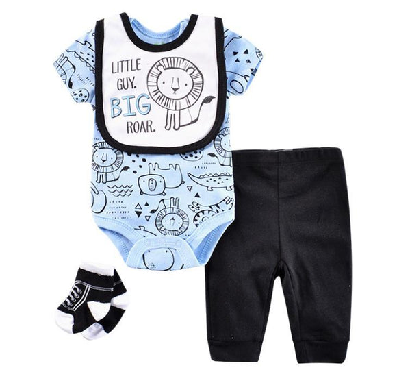 Little Guy Big Roar Light Blue/Navy- 4 piece Set - Dee Republic
