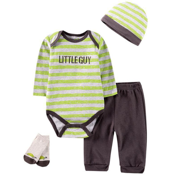 Little Guy Lime/Grey Outfit - 4 Piece Set - Dee Republic