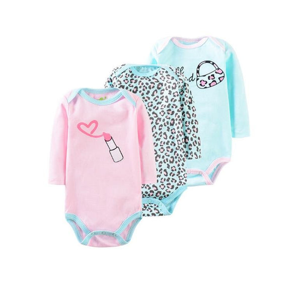Long Sleeve Pink & Turquoise Diva Onesie Set - 3 Piece - Dee Republic