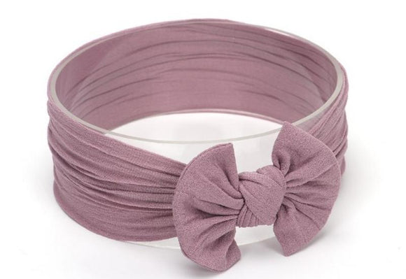 Mauve Broad Soft Elasticized Baby Headband with Bow - Dee Republic