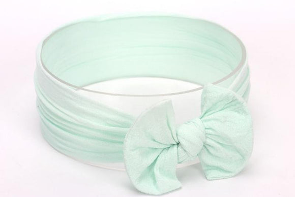 Mint Green Broad Soft Elasticized Baby Headband with Bow - Dee Republic
