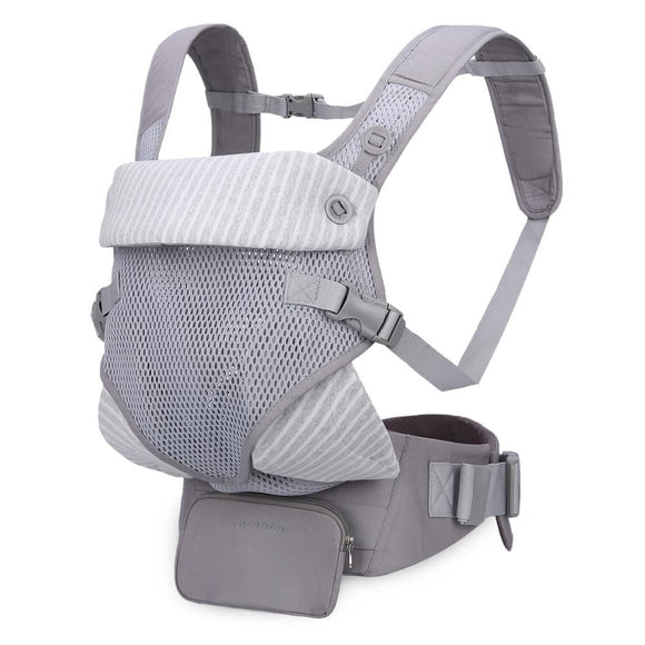 Mommore Grey Ergonomic Breathable Safety Baby Carrier with Lumbar Support & Detachable Purse and 2 Bibs - Dee Republic