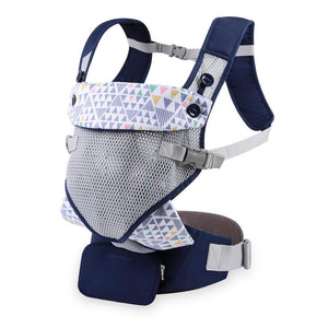 Mommore Navy & Pastels Ergonomic Breathable Safety Baby Carrier with Lumbar Support & Detachable Purse and 2 Bibs - Dee Republic