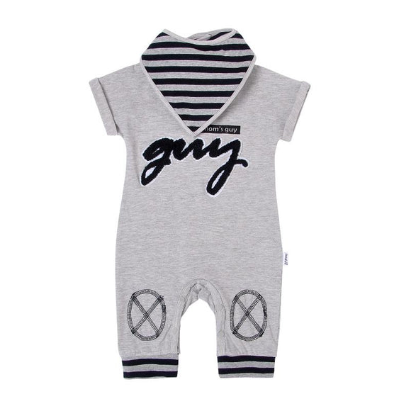 Mom's Guy Grey & Black Jumpsuit with Bandana Bib - 2pc - Dee Republic