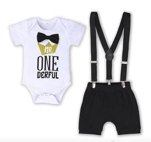 Mr ONEderful Black & White First Birthday Outfit - 3pc - Dee Republic