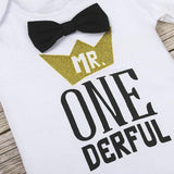 Mr ONEderful Black & White First Birthday Outfit - Cake Smash 3pc - Dee Republic