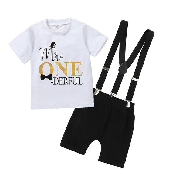 Mr ONEderful Print T-shirt First Birthday Outfit - Cake Smash 3pc - Dee Republic