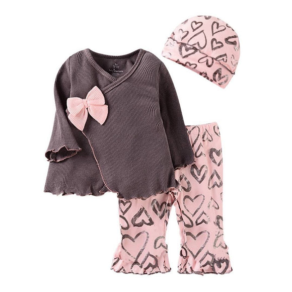 Mulberry Waffle Flare Knit Top Pink Bow with Leggings & Beanie - 3pc - Dee Republic