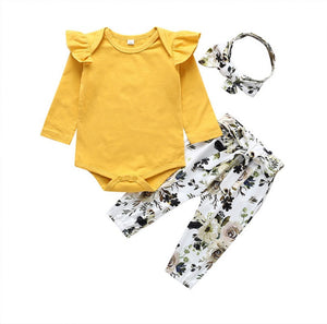 Mustard Long Sleeve Ruffle Style Bodysuit & Mix Floral Pants with Headband- 3 piece - Dee Republic