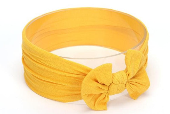 Mustard Yellow Broad Soft Elasticized Baby Headband with Bow - Dee Republic