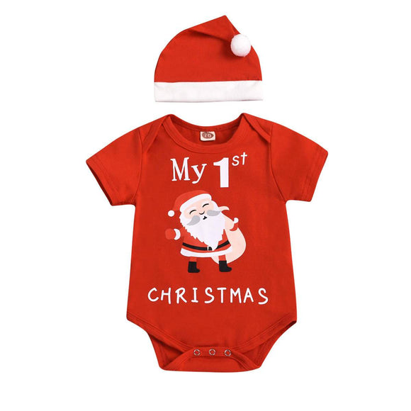 My 1st Christmas Print Red Bodysuit & Hat 2pc - Dee Republic