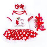 My 1st Christmas Stocking Print Bodysuit Dress Set 3pc - First Christmas - Dee Republic
