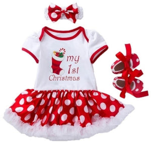 My 1st Christmas Stocking Print Bodysuit Dress Set 3pc - Dee Republic
