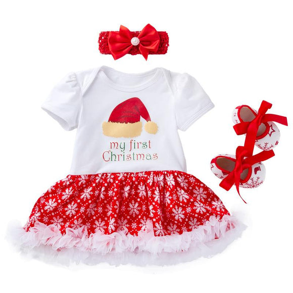 My First Christmas Hat Print Bodysuit Dress Set 3pc - Dee Republic
