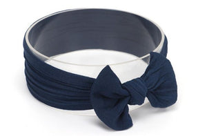 Navy Blue Broad Soft Elasticized Baby Headband with Bow - Dee Republic