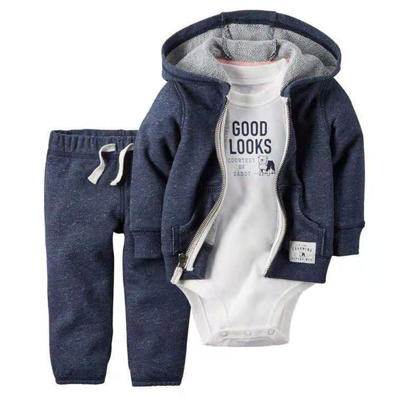 Navy Hooded Tracksuit Top & Pants with Good Looks Onesie - Dee Republic