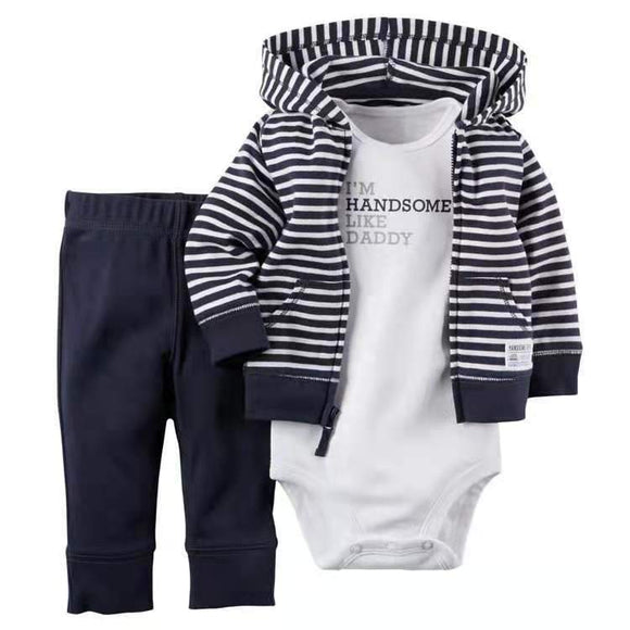 Navy Striped Hooded Tracksuit Top & Pants with Handsome like Daddy Onesie - Dee Republic