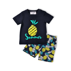 Navy Tropical Pineapple Design Boys Summer Set 2pc - Dee Republic