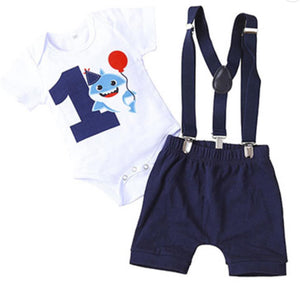 Navy & White Baby Shark with Balloon 1st Birthday Outfit - 3pc - Dee Republic