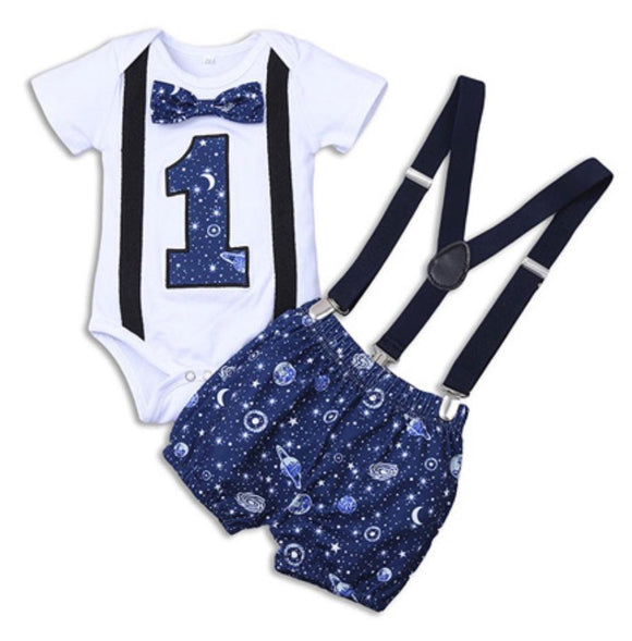Navy & White Planets Moon & Stars Mix First Birthday Outfit - 3pc - Dee Republic