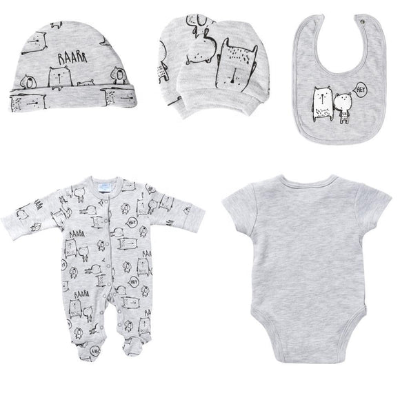 Newborn 5 Piece Cotton Grey Gift Set For Baby Boys - Dee Republic