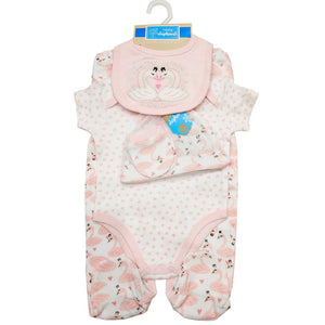 Newborn 5 Piece Cotton Pink Flamingo's Gift Set For Baby Girls - Dee Republic
