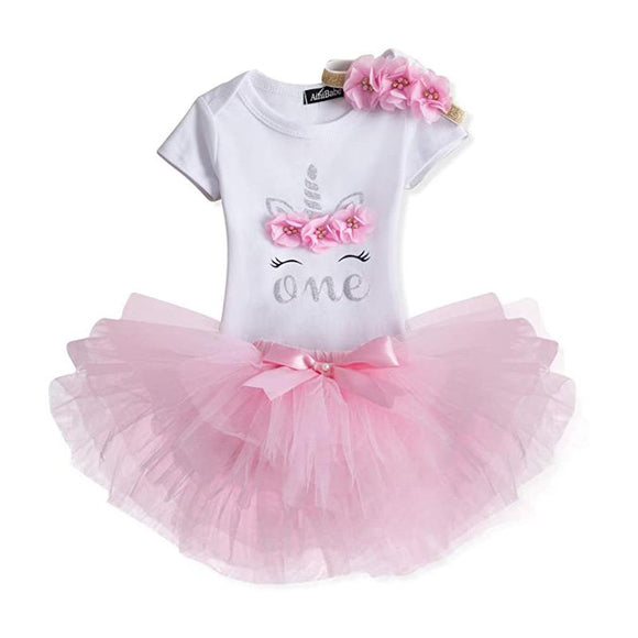One Birthday Silver & Pink Unicorn Bodysuit & Pink Tulle Tutu Set - 3pc - Dee Republic