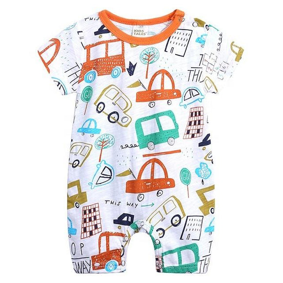 Orange And Teal Cars Print Summer Jumpsuit - Dee Republic