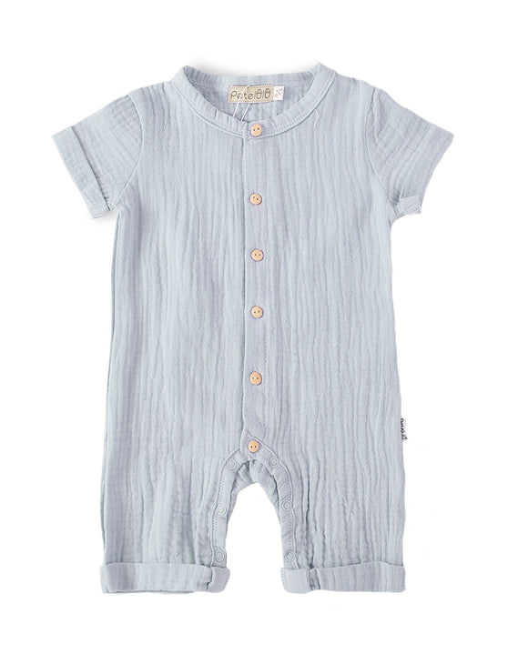Organic Cotton Muslin Pale Blue-Grey Bodysuit - Dee Republic