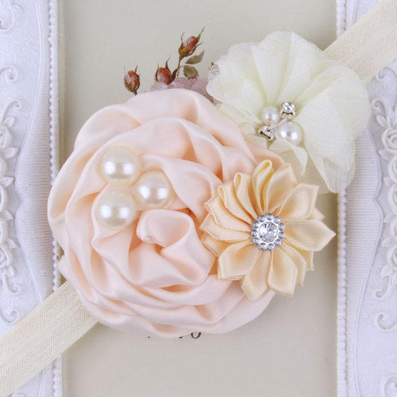Peaches & Cream Handmade Flower Mix Soft Headband with Crystal & Pearls - Dee Republic