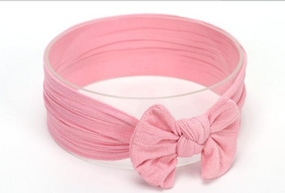 Pink Broad Soft Elasticized Baby Headband with Bow - Dee Republic