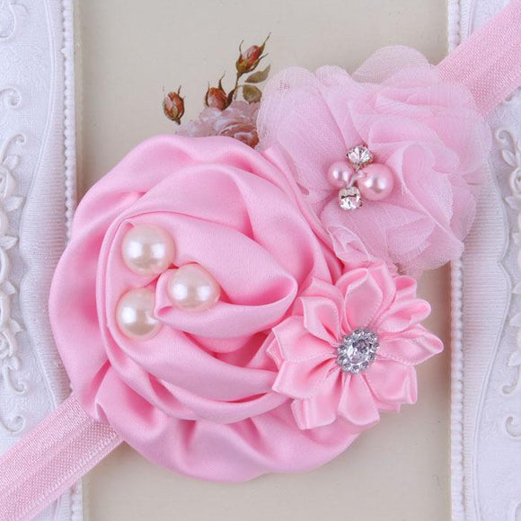 Pink Handmade Flower Mix Soft Headband with Crystal & Pearls - Dee Republic