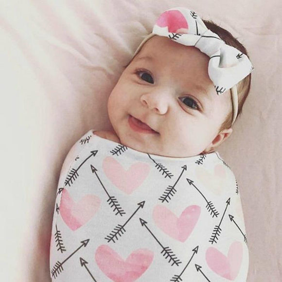 Pink Heart Swaddle Cocoon with matching Bow Headband - Dee Republic