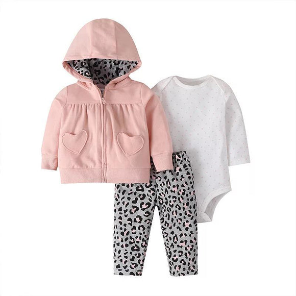 Pink Hooded & Leopard Print Winter Outfit - 3 Piece - Dee Republic