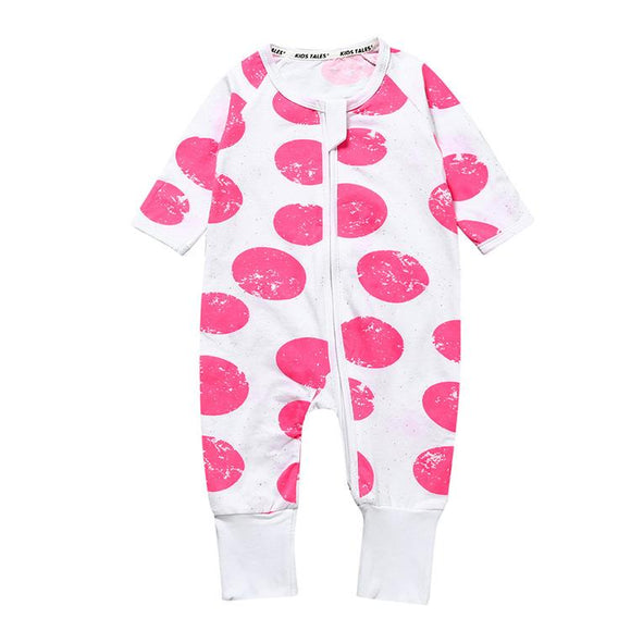 Pink Large Polka Dot Design Jumpsuit - Dee Republic